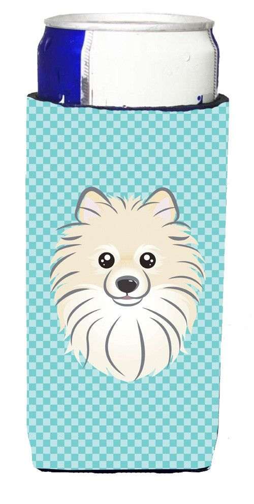Checkerboard Blue Pomeranian Ultra Beverage Insulators for slim cans BB1145MUK
