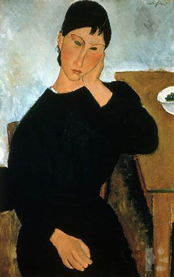 "Amedeo Modigliani, ""Elvira appoggiata al tavolo"", 1919, Saint Louis (Missouri), Saint Louis Art Museum. My absolute hands-down favorite painting at SLAM"