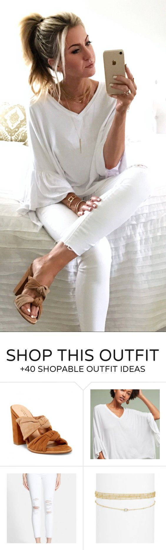 #summer #outfits  White Top + White Skinny Jeans + Brown Bow Pumps // Shop This Outfit In The Link