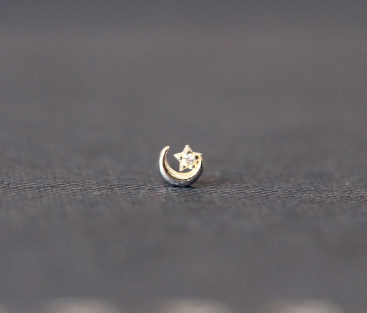 Moon CZ Star Nose Stud