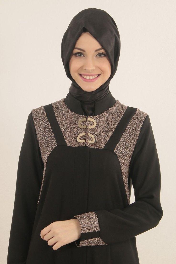 İpekdal Ferace Siyah-Kahve - Alâ Tesettür | Tesettür Giyim, Ferace, Elbise, Şal, Haşema