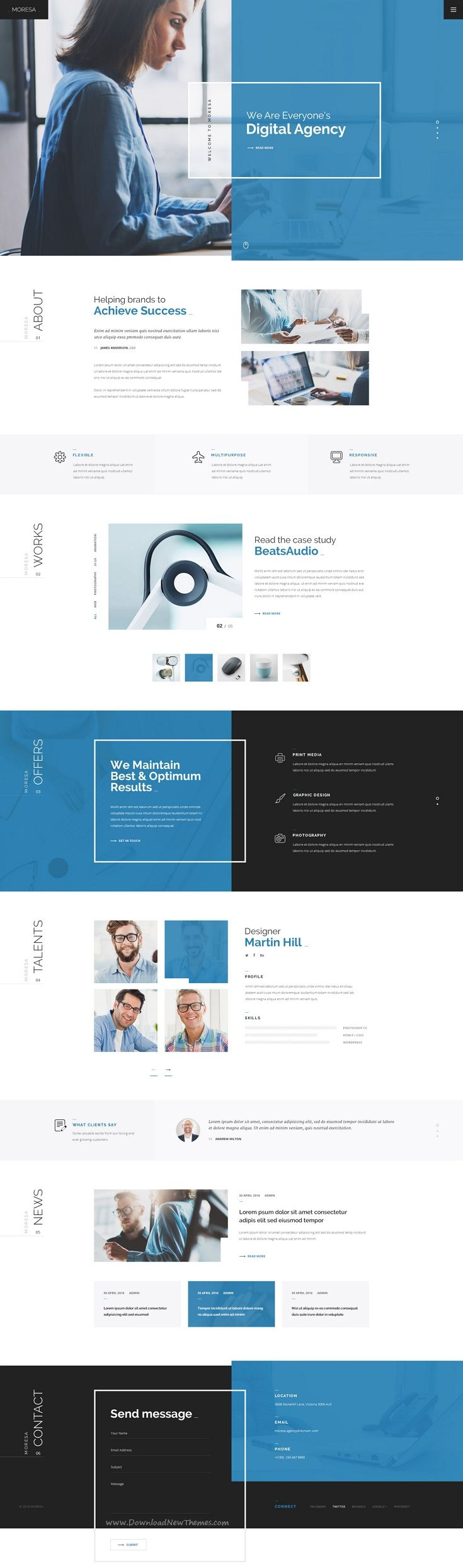 MORESA is a Modern, Clean, Responsive & Multipurpose #PSD #Template for your next #website.