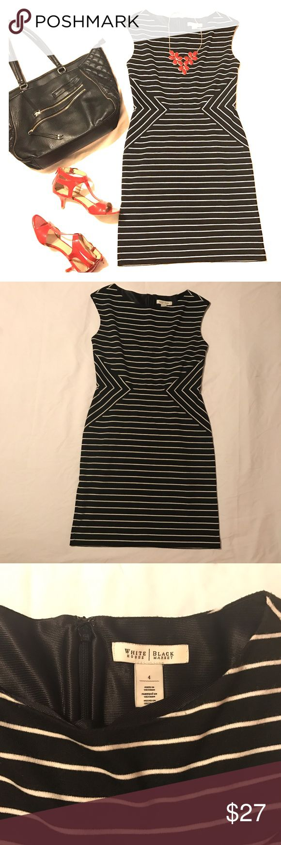 "White House Black Market striped sheath dress sz 4 White House Black Market Black & white striped sleeveless dress Women's size 4  Shell: 67% Polyester, 31% Rayon, 2% Spandex Lining: 100% Polyester  Knee length.  Boat neck. Zips up back.   Bust: 34"" Waist: 28"" Length: 36"" White House Black Market Dresses"
