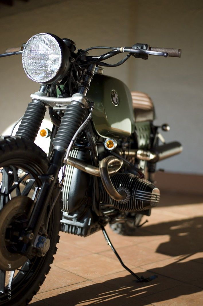 Sarge Street Scrambler 1980 BMW R100RS This military inspired 1000cc muscle street scrambler, with vintage brown leather seat and contrasting grips, digital speedo, black head lamp with chrome grille, Ascot green pearl metallic custom paint and road legal Enduro tyres.