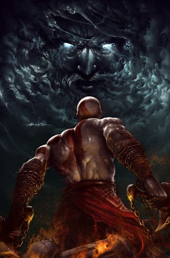 Kratos facing Zeus