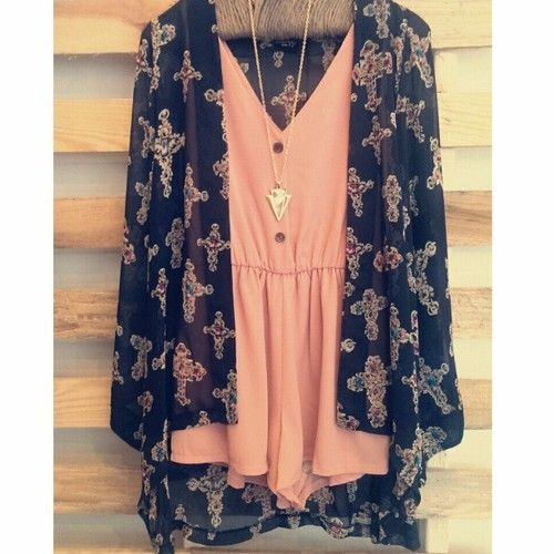 Cute bright peach romper with blue floral kimono- perfect for a day on the boardwalk or shopping