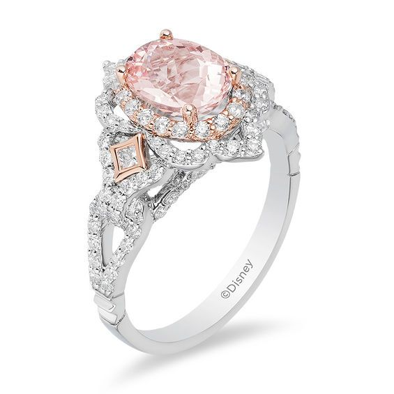 Enchanted Disney Aurora Oval Morganite And 3 4 Ct T W Diamond Scallop Frame Engagement Ring In 14k Two Tone Gold Zales Outlet Disney Engagement Rings Engagement Rings Sapphire Disney Wedding Rings