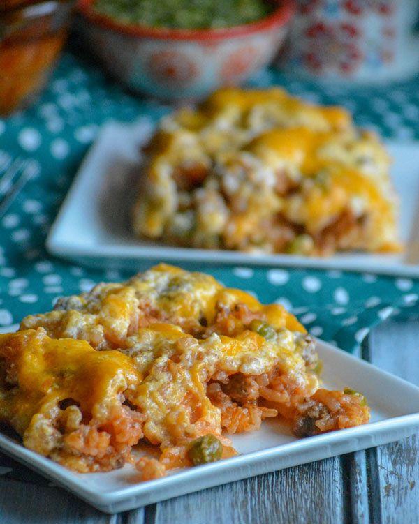 Cheesy Ground Beef And Rice Casserole