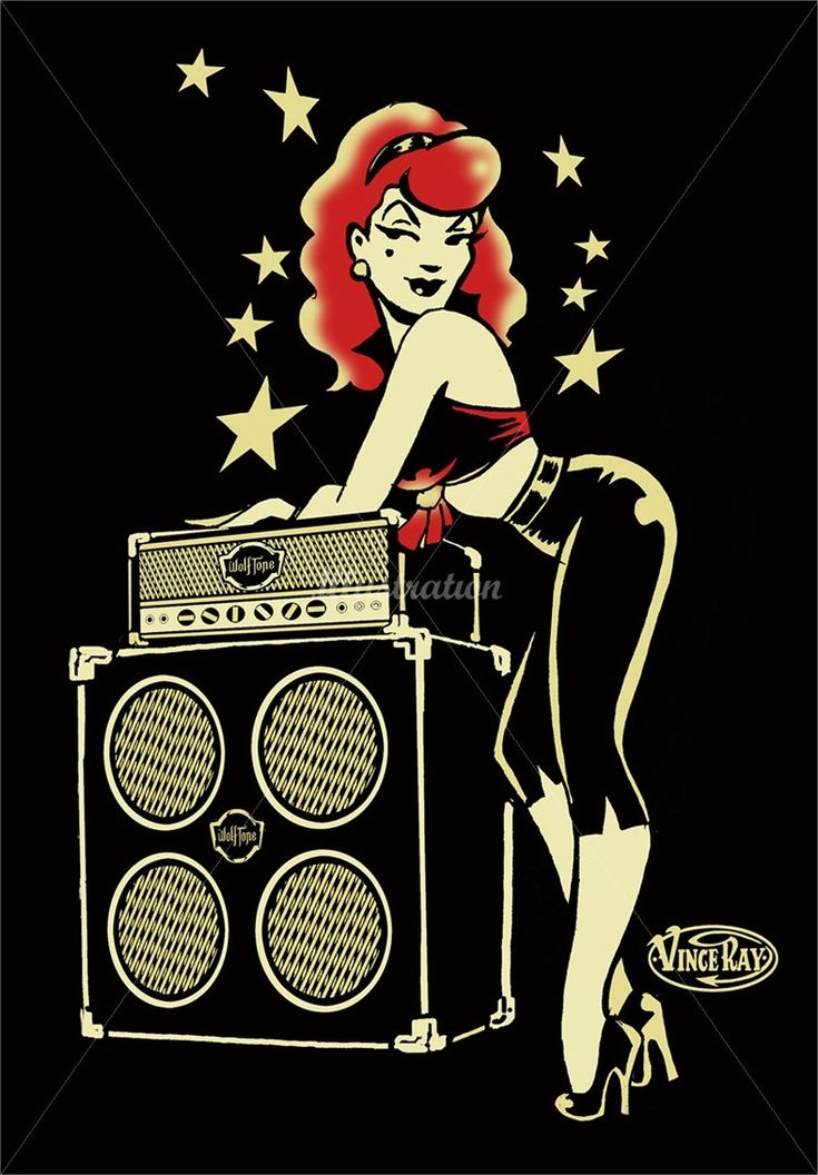 Vince Ray (Artist) - Low Brow Pop Surrealism  Retro Illustrations Rockabilly pinup leaning on amp and speakers