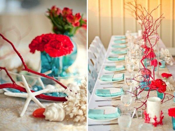 aqua decorating ideas | Aqua Reception Decor, Hues Youll Heart: Red and Aqua, Red and Aqua ...