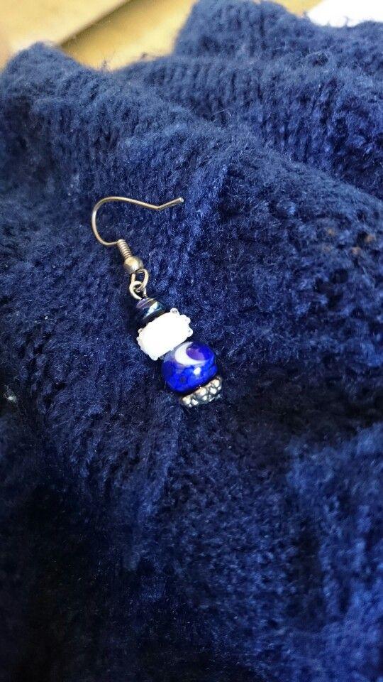 Moonlake earrings a set of two handmade lampwork beads ad my home studuo 9,50euro