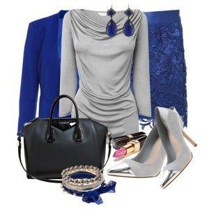 С чем носить серые туфли: серая блузка, синий костюм, черная сумка