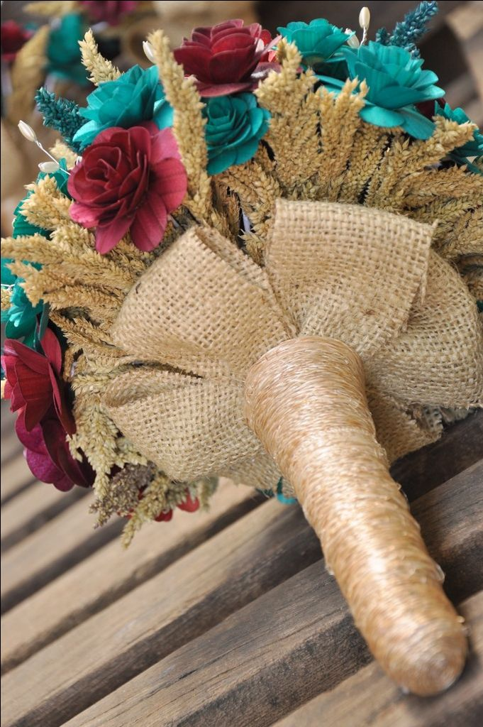 make your own wedding flower centerpieces%0A Teal and Maroon Wood Wedding Bouquet