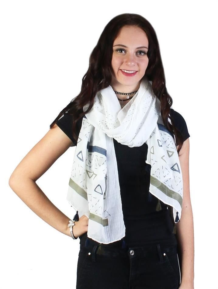 Triangle Print Fashion Scarf With Tassel Detail Lightweight Cotton Blend NWT #NorthSouth #Scarf