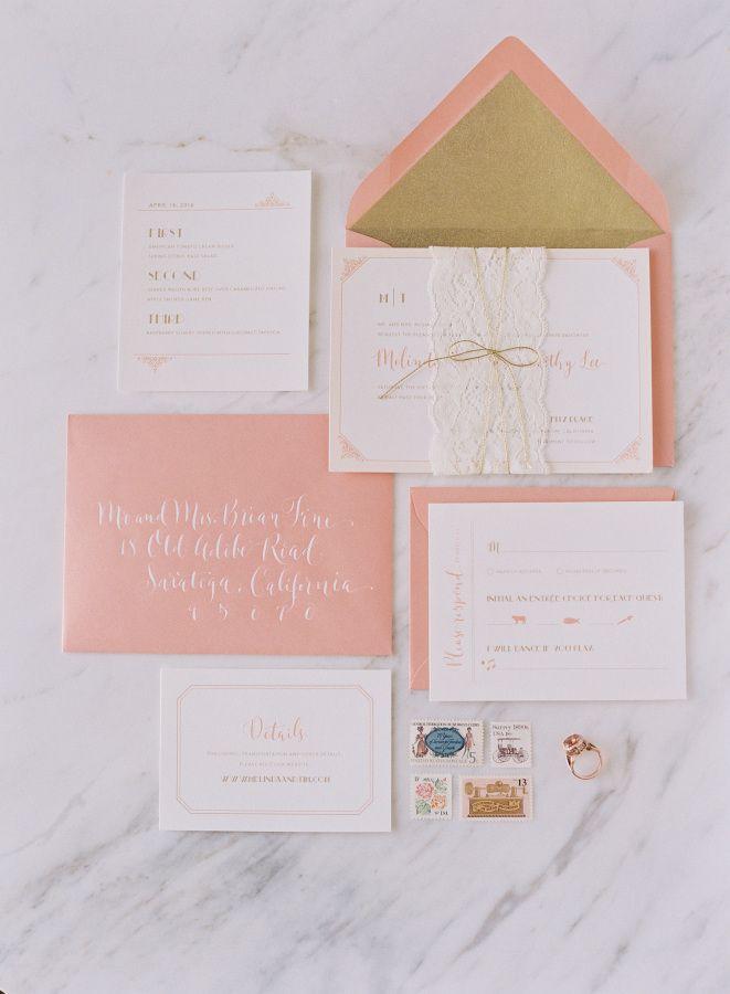 Girly peach invitation suite: http://www.stylemepretty.com/2016/06/09/weve-found-the-girly-wedding-inspo-of-your-dreams/ | Photography: Caroline Tran - http://carolinetran.net/