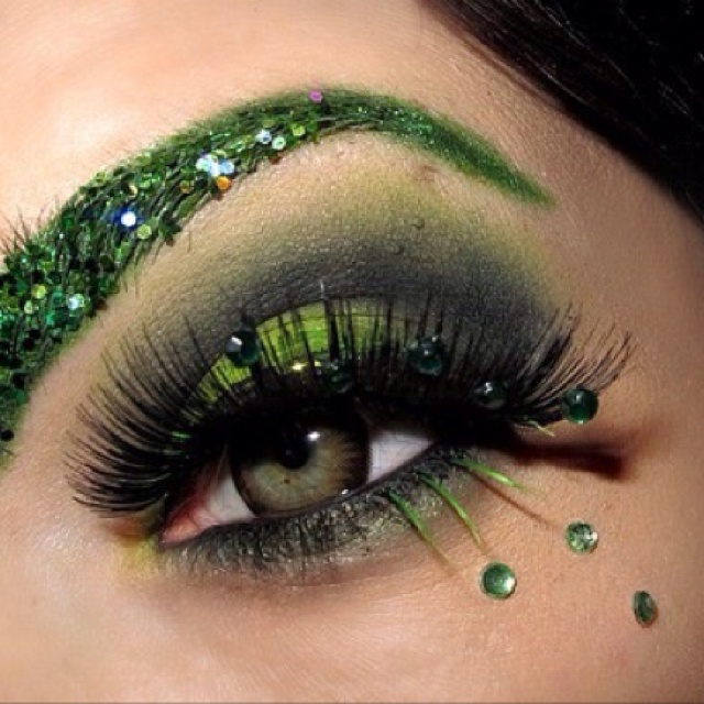 Poison Ivy inspired makeup. St Patty too maybe??? @Jamie Heller