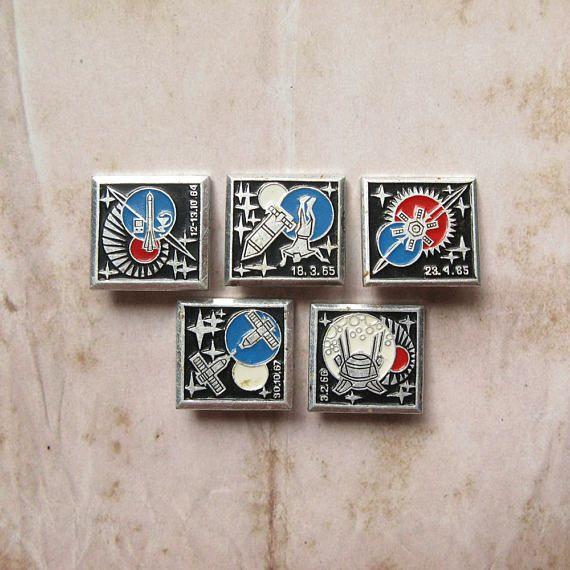 Vintage Space Pins Cosmos Exploration Space Badge Space
