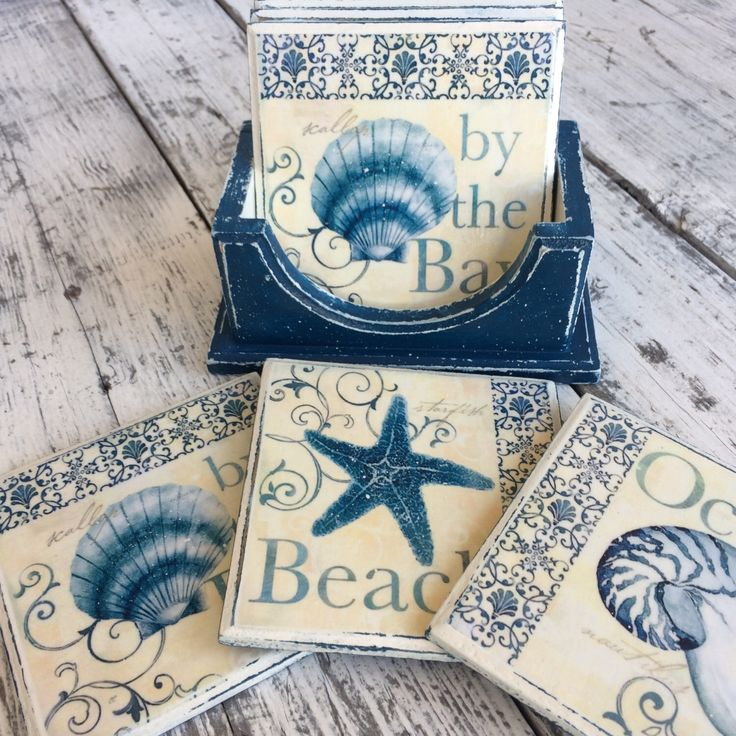 A personal favorite from my Etsy shop https://www.etsy.com/listing/506878761/coasters-marine-blue-cup-coasters-table