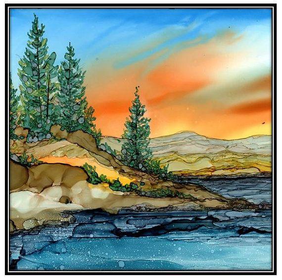 Decoupage Print of Alcohol Ink painting on Ceramic Tile - one 6x6 Tile/ Trivet - Alcohol Inks- Decorative Tile- Mountain lake