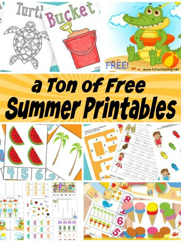 A ton of free summer printables for kids! Worksheets, coloring pages, games, activities and more!