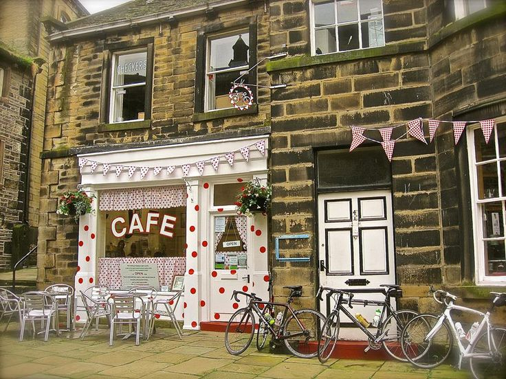 Sid's Cafe with polkadots for the Tour de France. Photographs copyright Ruth Bingham of Redvibe Crafts - look out for my stall at Holmfirth market on Saturdays. #holmfirthselfie Sent into www.holmfirth.info