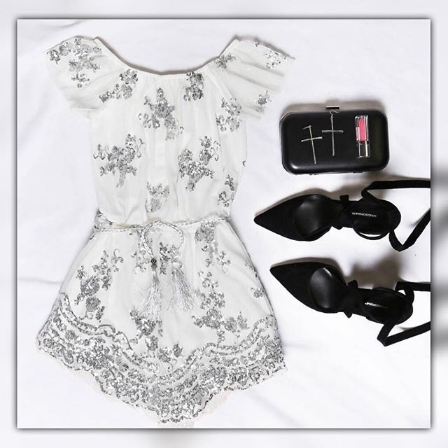 YES OR NO?!👱🏻♀️ Via: @beginningboutique 💖💖 Playsuit:starlight sequin Playsuit white $99.95 Clutch: verali titan clutch black $59.95 Heels: bryon heels black $179.95 Earrings: pilgrim cross earrings gold $19.95💖💖 #instagood #follow #cute #photooftheday #followme #style #girl #beautiful #happy #boho #instadaily #outfit #swag #amazing #fashion #ootd #beauty #friends #lookbook #americanstyle #vsco #vscocam #partydress #datenightoutfit