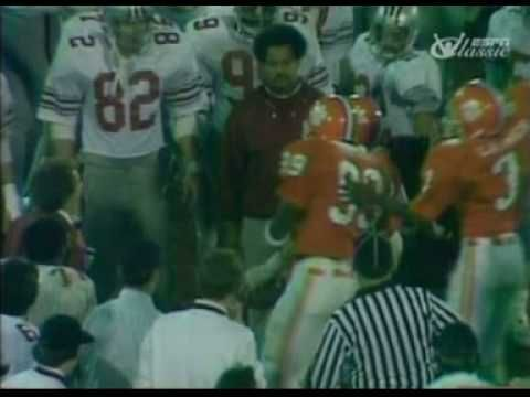 Ohio State coach Woody Hayes punches a Clemson player during 1978 Gator Bowl.