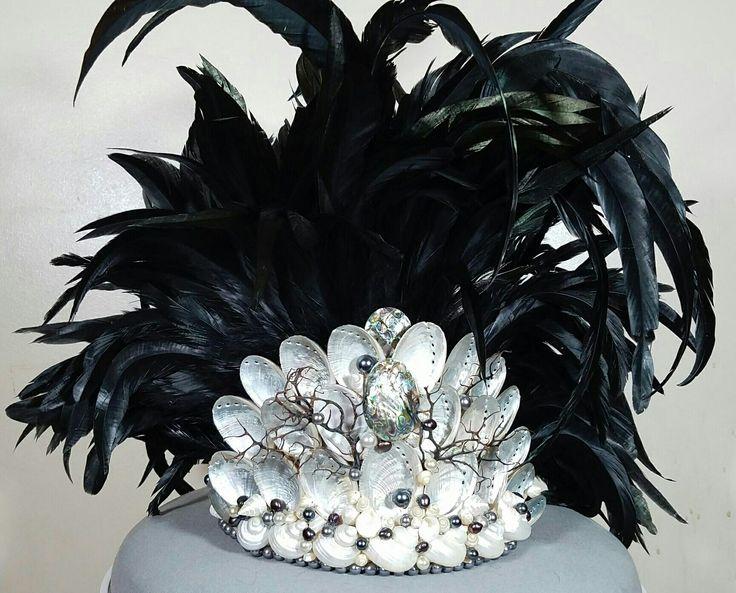 Tahitian headpiece made from abalone/paua shell, pearls, black coral and pearlized shells for AZ Aloha Festival 2017