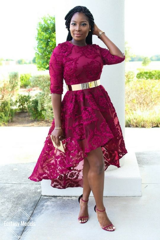Burgundy Lace Asymmetrical Dress  Outfit Details Dress: Iconscloset get Here , Shoes: Shoedazzle get Here Belt: Asos get Here Fashion Look by Irony Of Ashi