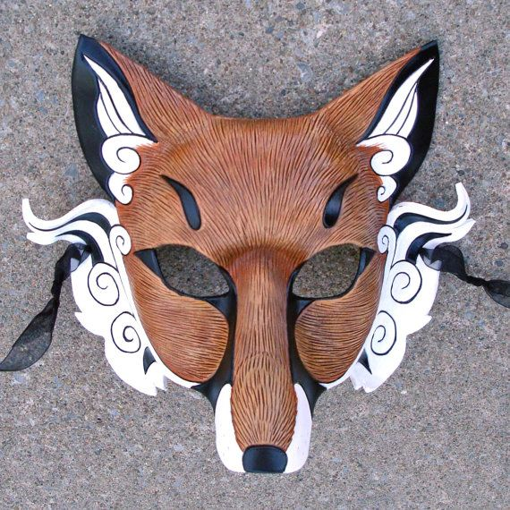 Japanese Red Fox Mask... Inari Kitsune ...handmade leather fox mask