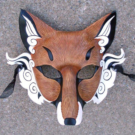 épinglé par ❃❀CM❁✿Japanese Red Fox Mask... Inari Kitsune ...handmade leather fox mask