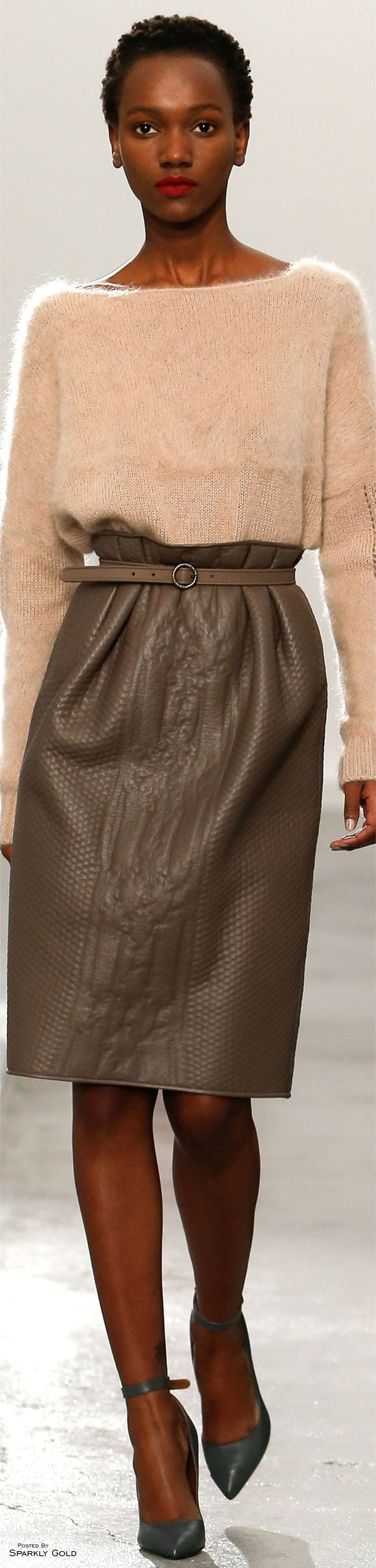7/25/16 I choose this image of a leather skirt because of how interesting it was that it was stamped upon with different textures. Agnona F-16 RTW: sweater, paper bag waist leather skirt.