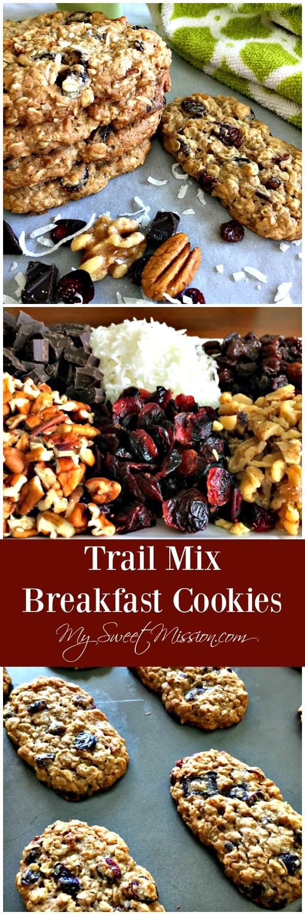 Cookies for breakfast? Oh - yeah! Because our Trail Mix Breakfast Cookies are packed with heart-healthy oats, crunchy nuts, soft raisins, tart cranberries, sweet coconut and rich, dark chocolate. You know, pretty much what everyone loves about trail mix!