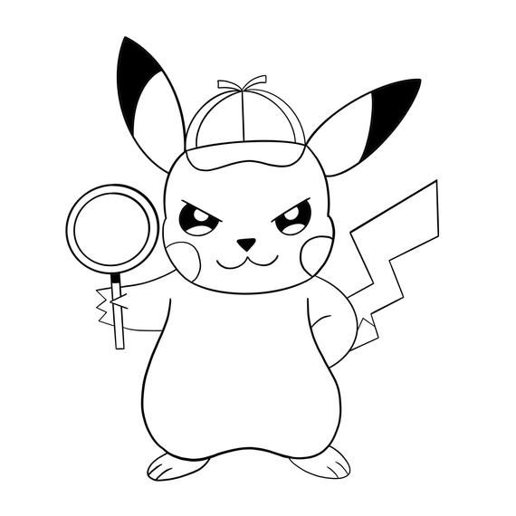 Svg Pokemon Detective Pikachu Free Coloring Instant Download Printable Art Pokemon Coloring Pages Pikachu Coloring Page Pokemon Coloring