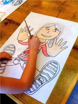 trace hands and feet and then fill in a self-portrait. that's so cool!