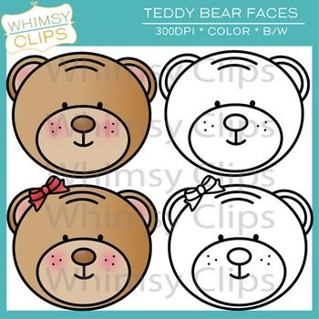 Teddy Bear Faces Clip Art Freebie
