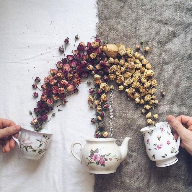 Rus Sanatçı Marina Malinovaya'dan Fincan ve Çiçeklerle Yapılmış 20 Muazzam Çalışma Sanatlı Bi Blog 8