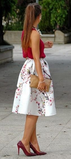Cherry blossom midi skirt, red top. women fashion outfit clothing style apparel @roressclothes closet ideas