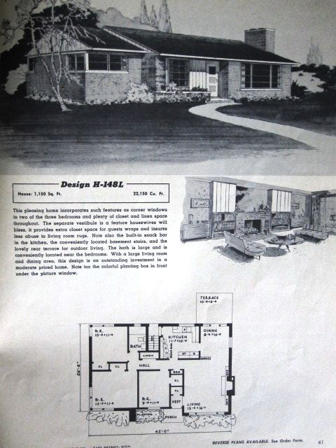 1950 39 s house plans google search 1940s 1950s homes for 1950s house plans