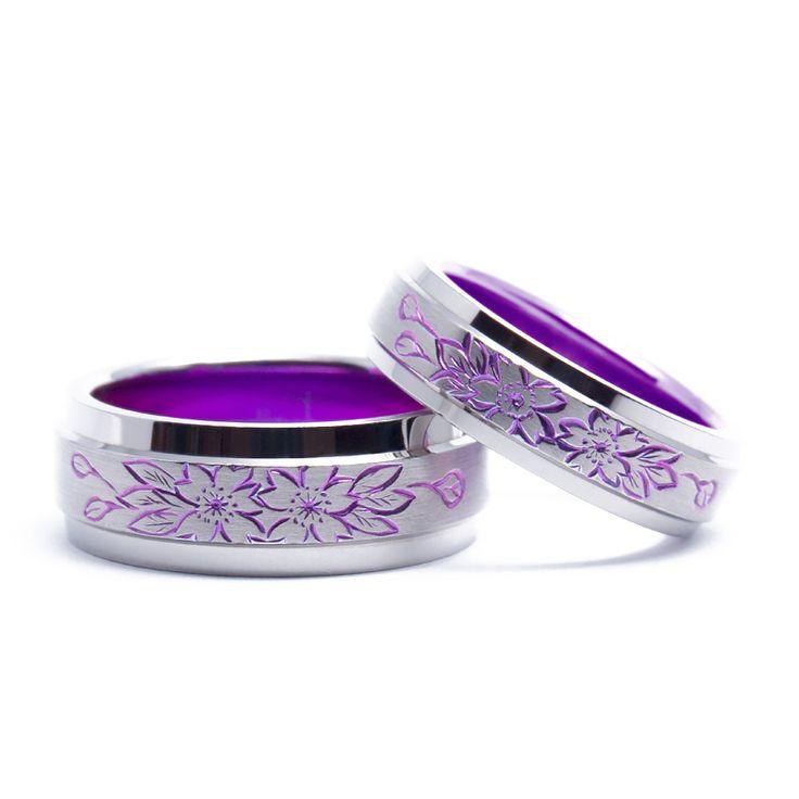 【結婚指輪 咲耶姫】まるでおふたりのような寄り添う桜を施したデザイン。 チタンでも人気の桜デザインです。素材:Ti(チタン)。