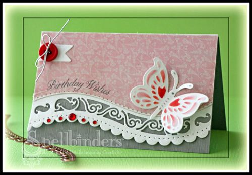 """by Beate Johns  --S5-180 A2 Curved Borders One  Spellbinders™ Borderabilities® Card Creator dies  --S4-399 Charmed I'm Sure Spellbinders™ Shapeabilities®  --S5-165 Butterfly Corner  Spellbinders™ Shapeabilities®   --Flourishes - Winter Blossoms  --My Mind's Eye™ - Collectable Unforgettable 6"""" x 6"""" pad  --Want2Scrap - 72 count Red Rhinestones"""