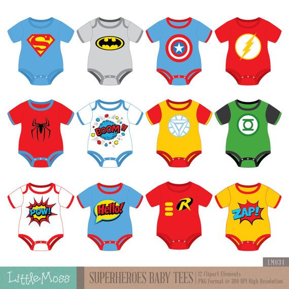 Superheroes Baby Tees Clipart Superhero Baby by LittleMoss on Etsy