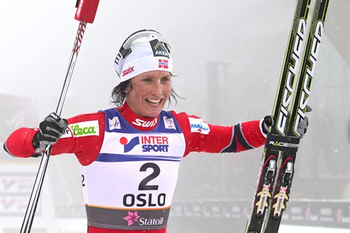 Marit Bjørgen, Norwegian cross-country skier and 6-times Olympic champion. She is ranked first in the all-time Cross-Country World Cup rankings with 105 individual victories.
