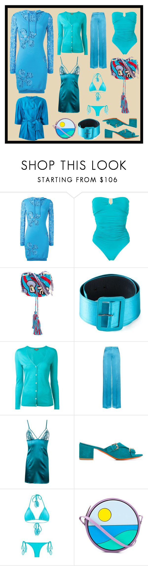 """""""Sky Blue"""" by cate-jennifer ❤ liked on Polyvore featuring Moschino, Brigitte, Peter Pilotto, Yves Saint Laurent, N.Peal, Etro, Fleur of England, Santoni, Martha Medeiros and Yazbukey"""