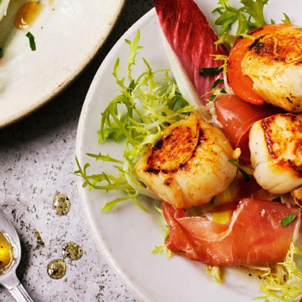 Seared Scallops with Serrano Ham from Rick Stein's Fish and Shellfish cookbook. A wonderfully elegant fish starter recipe.