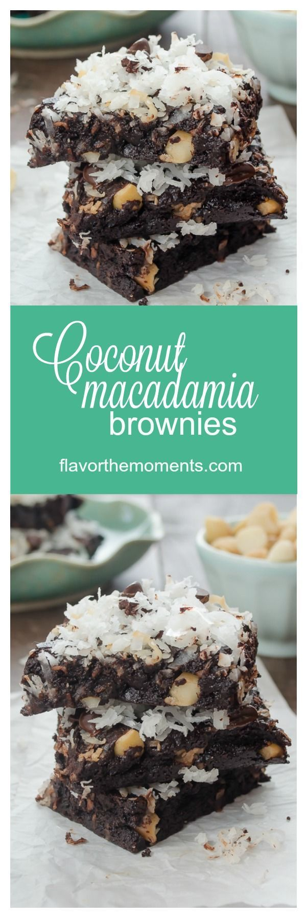 Coconut Macadamia Brownies are the easiest, chewiest cocoa brownies ever with plenty of coconut, macadamia nuts, and coconut oil instead of butter! @FlavortheMoment