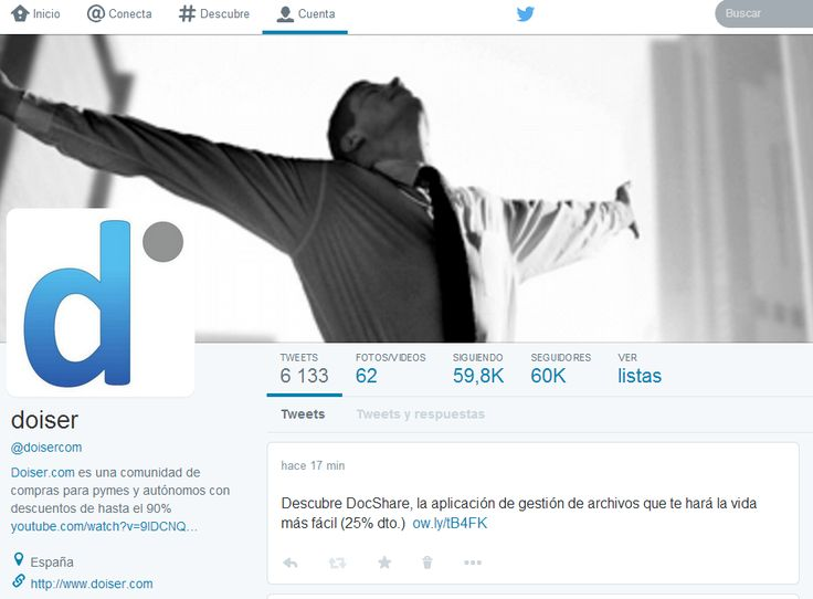 Hoy hemos superado los 60.000 followers en Twitter. ¡Muchísimas gracias a todos!