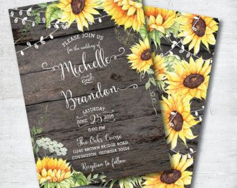 Sunflower Bridal Shower Invitation Rustic Wood and by PhotoCottage