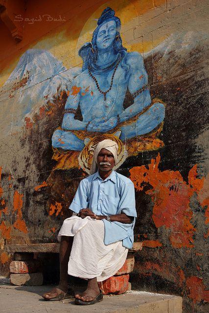 Posing with Shiva, India