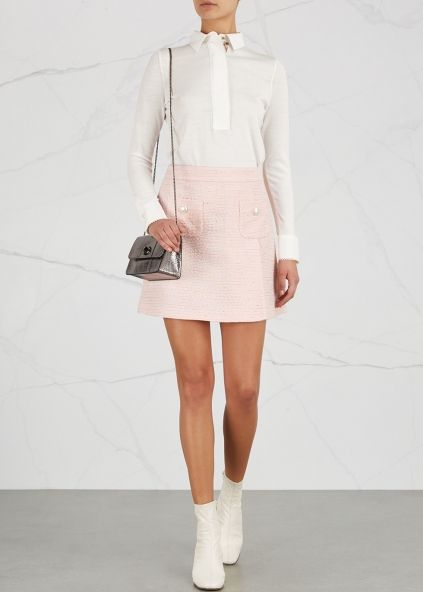 Boutique Moschino Pink button-embellished tweed skirt - Harvey Nichols